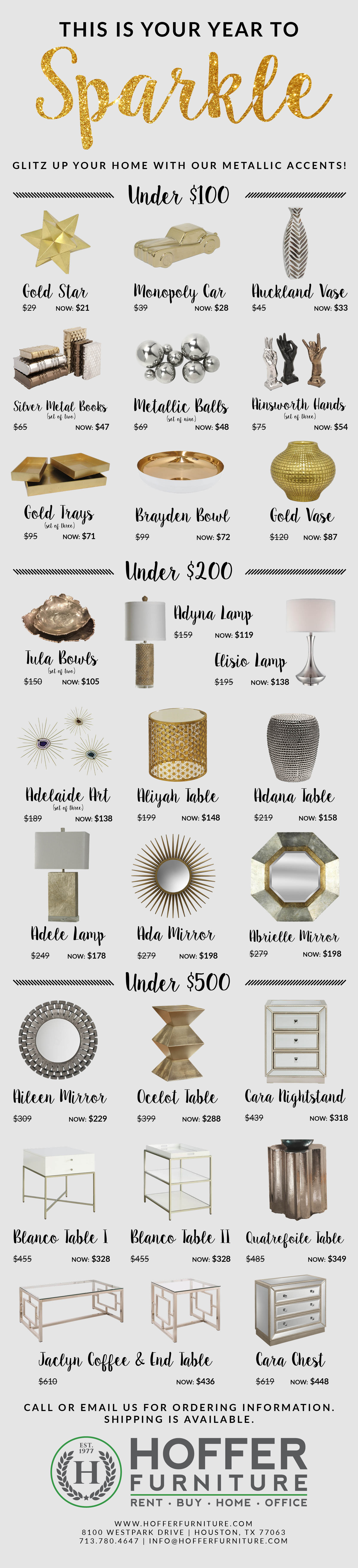 the best metallic home accents of 2017 - hoffer furniture