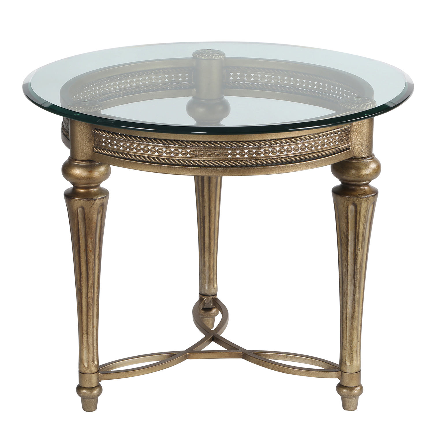 Round Iron & Glass End Table