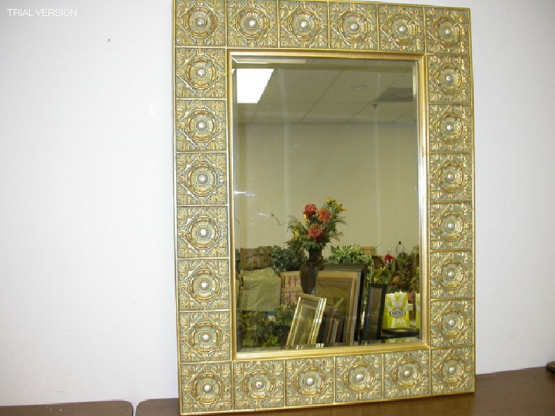 Gold Mirror W/Silver Circles And Details
